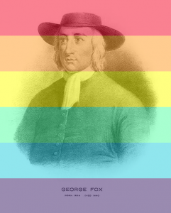 portrait of George Fox with a rainbow filter
